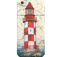 Cape North Race Lighthouse NS Canada Map Cathy Peek iPhone Case/Skin
