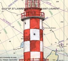 Cape North Race Lighthouse NS Canada Map Cathy Peek by Cathy Peek