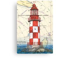 Cape North Race Lighthouse NS Canada Map Cathy Peek Canvas Print