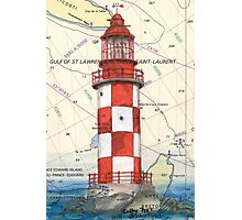 Cape North Race Lighthouse NS Canada Map Cathy Peek Photographic Print