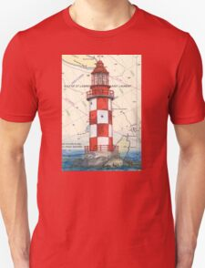 Cape North Race Lighthouse NS Canada Map Cathy Peek T-Shirt