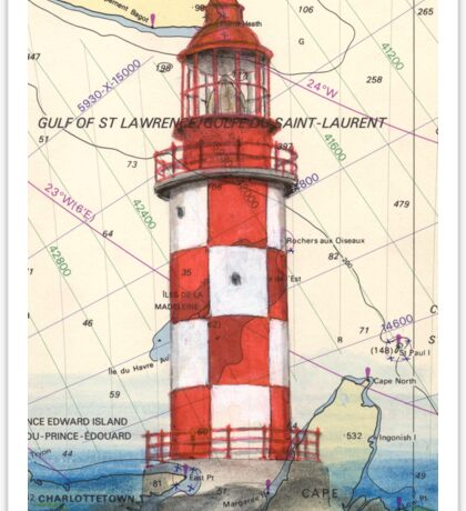 Cape North Race Lighthouse NS Canada Map Cathy Peek Sticker