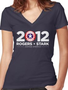 Vote Rogers & Stark 2012 (White Text) Women's Fitted V-Neck T-Shirt