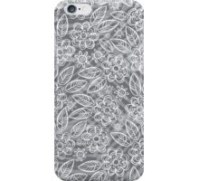 white floral pattern on gray iPhone Case/Skin
