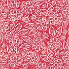 white floral pattern on red by demonique