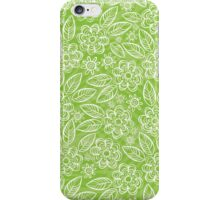 white floral pattern on green iPhone Case/Skin