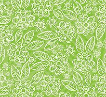 white floral pattern on green by demonique