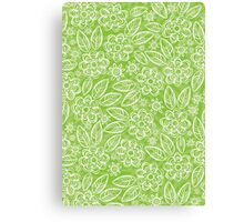white floral pattern on green Canvas Print