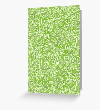 white floral pattern on green Greeting Card
