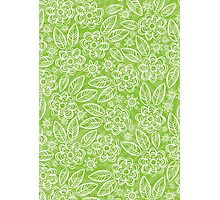 white floral pattern on green Photographic Print