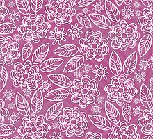 white floral pattern on purple by demonique