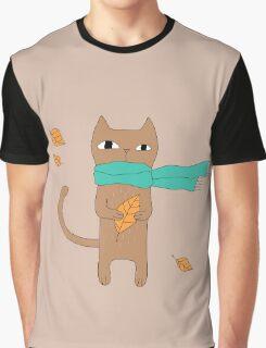 Autumn Cat Graphic T-Shirt