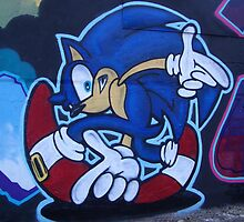 World street graffiti - Sonic the hedgehog by grafhunter