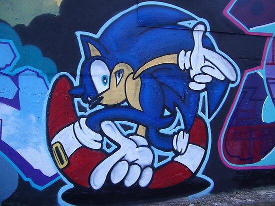 World street graffiti - Sonic the hedgehog by grafhunter