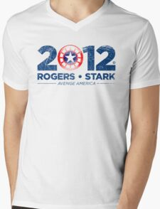 Vote Rogers & Stark 2012 (Blue Vintage) Mens V-Neck T-Shirt