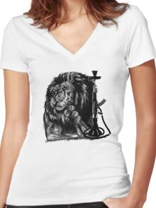 lion smoke  Women's Fitted V-Neck T-Shirt