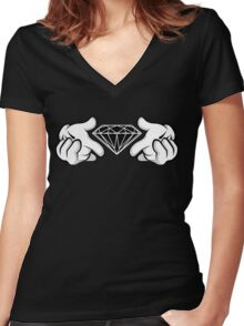 Diamond Hands Sticker Friendly Women's Fitted V-Neck T-Shirt