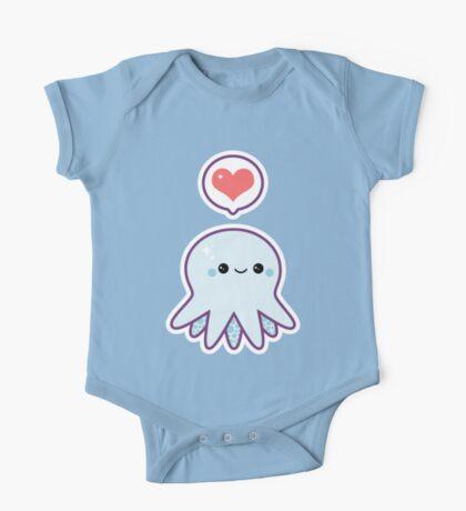 Cute Blue Octopus One Piece - Short Sleeve