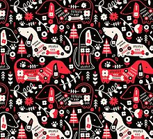 Dog Folk In Black/ Red by limegreenpalace