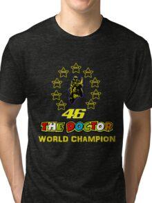 Valentino Rossi 46: World Champion in MotoGP (A) Tri-blend T-Shirt