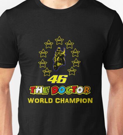 Valentino Rossi 46: World Champion in MotoGP (A) Unisex T-Shirt