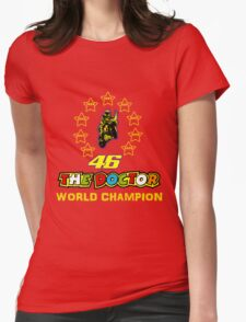 Valentino Rossi 46: World Champion in MotoGP (A) Womens Fitted T-Shirt