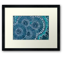 Blue ladies fussing together Framed Print