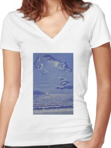 005 Sail Boat Women's Fitted V-Neck T-Shirt