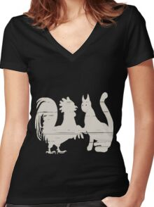 Cock Meets Pussy Women's Fitted V-Neck T-Shirt