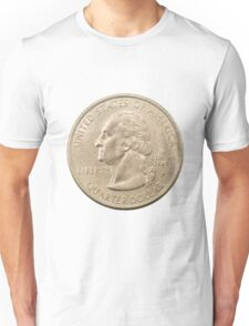 US one Quarter Dollar coin (25 cents) isolated on white background  Unisex T-Shirt