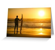 A surfer watching the waves Greeting Card