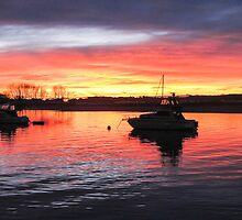 boats in the sunset by Anne Scantlebury