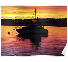 anchored launch in the sunset Poster