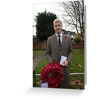 Jo Johnson MP lays a wreath on Orpington war memorial at a remembrance ceremony Greeting Card