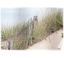 Fence in the sand dune Poster