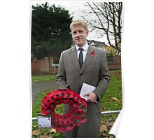 Jo Johnson MP lays a wreath on Orpington war memorial at a remembrance ceremony Poster
