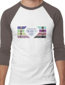 Pixel White Diamond   Community Men's Baseball ¾ T-Shirt