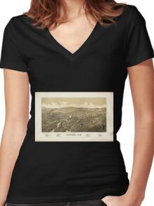 Panoramic Maps Oxford NY Women's Fitted V-Neck T-Shirt