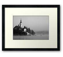 Misty Lake Bled in Black and White Framed Print