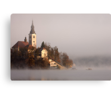 Misty Lake Bled Canvas Print
