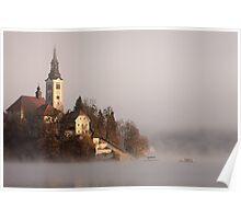 Misty Lake Bled Poster