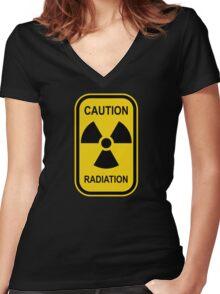 Radioactive Symbol Warning Sign - Radioactivity - Radiation - Yellow & Black - Rectangular Women's Fitted V-Neck T-Shirt