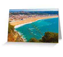 Nazaré beach. where the biggest waves on earth happen. Greeting Card
