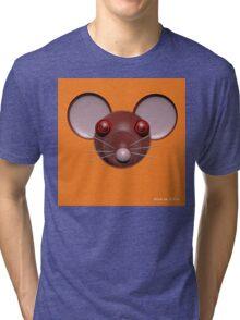 Psychedelic Orange Mouse Head  Tri-blend T-Shirt