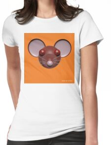 Psychedelic Orange Mouse Head  Womens Fitted T-Shirt