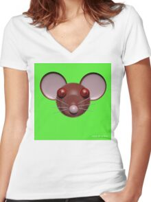 Psychedelic Green Mouse Head  Women's Fitted V-Neck T-Shirt