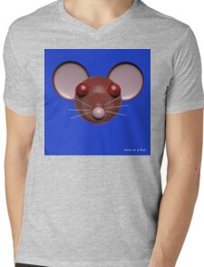 Psychedelic Blue Mouse Head  Mens V-Neck T-Shirt