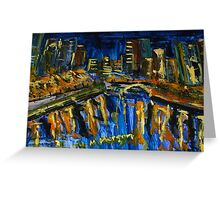 Southbank at night - reflections, Melbourne Vic Australia Greeting Card