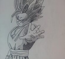 Gohan Super Sayin 2 Pencil Drawing by spudzuk