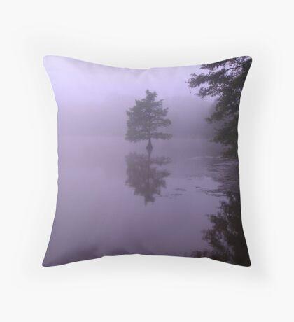 Cypress Tree Morning Throw Pillow